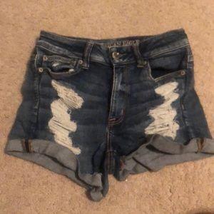 distressed next level stretch jean shorts